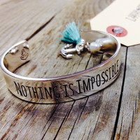 NOTHING IS IMPOSSIBLE BRACELET - SILVER – LaRue Chic Boutique