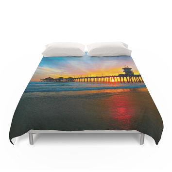 Society6 Sunset Huntington Beach Pier Duvet Cover