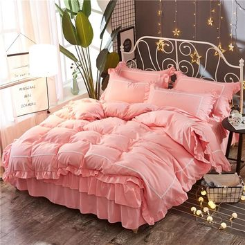Pink Lace Princess Wedding Bedding sets High quality Home Textile Queen King size fashion Duvet cover set Bed skirt Pillowcases