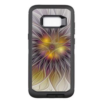 Luminous Colorful Flower, Abstract Modern Fractal OtterBox Defender Samsung Galaxy S8+ Case