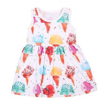 Kids Dresses Girls Children Girl Summer Dress Kids Clothes Vetements Bebe Cotton Cute Ice Cream Print Sundress Girls Dresses