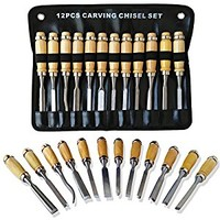 RICE Professional Wood Carving Chisel Set - 12 Piece Sharp Woodworking Tools w/ Carrying Case - Great for Beginners