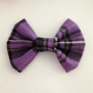 Purple and Black Flannel Plaid Fabric Hair Bow