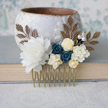 White Rose Hair Comb Cream Ivory Rose Comb Wedding Hair Accessories Something Blue Yellow Flower Comb Navy Blue Rose Pearl Bridal Hair Comb