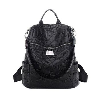 University College Backpack 2018 new Korean version of the black  female soft leather  simple high-capacity ladies travel AT_63_4