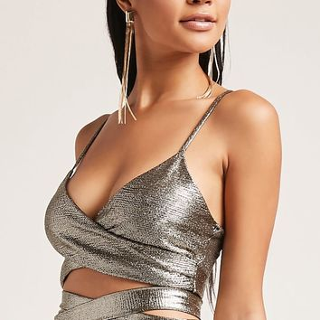 Metallic Surplice Cropped Cami