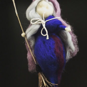 Halloween ornament - Waldorf inspired needle felted witch