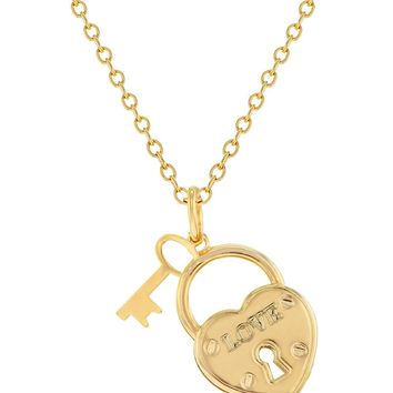 """18k Gold Plated Key Of My Heart Love Amor Girls Pendant Necklace 19"""""""