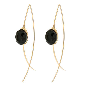 Gold & Black Faceted Gemstone Wire Wrapped Long Thread Hoop Earrings