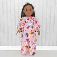 18 inch Doll Pink Stripe Flannel Pajamas with Cupcakes Girl Sleepwear American Doll Clothes