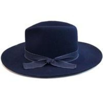 Reina Felted Panama Hat in Navy