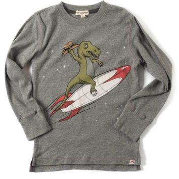 Appaman Tee-Rex Rocket Long Sleeve Tee in Light Grey Heather