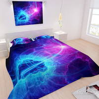 BEDDING, Galaxy abstract art Bedding set, Nebula Bedding, Modern queen / king / full / twin duvet cover, Space bedding, Galaxy bed linenes