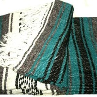 Green Large Authentic Falsa Mexican Yoga Meditaion Blanket 7'/5' Southwest Rug Throw