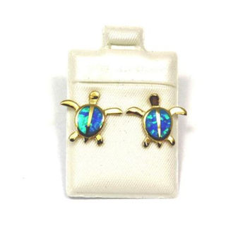 INLAY OPAL YELLOW SILVER HAWAIIAN HONU TURTLE POST STUD EARRINGS MEDIUM 15MM