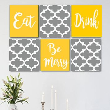 Eat Drink Be Merry Grey Yellow White Wall Art Pack of 6 Canvas Wall Hangings
