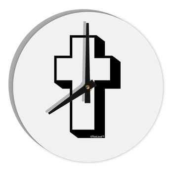 """Simple Cross Design Black 8"""" Round Wall Clock  by TooLoud"""