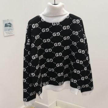 GUCCI new autumn and winter joker sweater female high collar double g letter sweater Black (white collar)