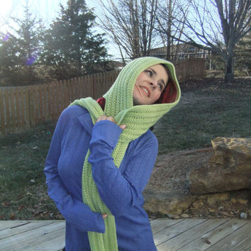 Crochet Scoodie , Accessories, Hood and Scarf Combo Scarf Light Green