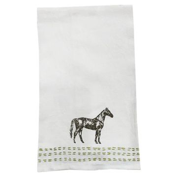 Thoroughbred Embroidered Linen Hand Towel