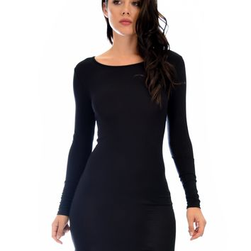 Lyss Loo Comeback Baby Long Sleeve Black Bodycon Dress