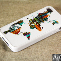 Colorful wooden world map iPhone 4 iPhone 4S Case, Rubber Material Full Protection