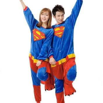 Halloween Costume Animal Sleepwear SuperMan Adult Pajamas Fashion  Flannel Casual Long With Sleeve Winter Pyjamas Easy Toilet = 1946463940
