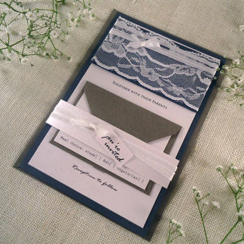 Silver Wedding Invitation White Lace Wedding Invitation Silver Rustic Wedding Invitation with White Lace