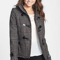 Pink Envelope Detachable Hood Toggle Front Coat (Juniors) (Online Only) | Nordstrom