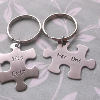 His Only Her One Puzzle Piece Key Chain Set
