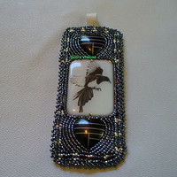 Native American Style bead appliqued Magpie key chain in Gunmetal