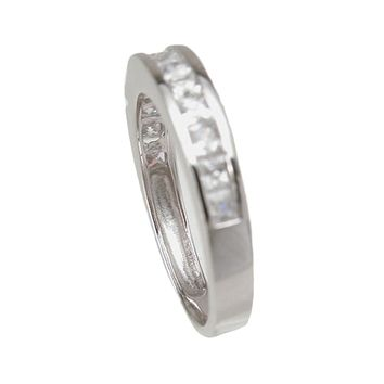 Plutus Brands 925 Sterling Silver Wedding Band 0.3 Carat Weight - Size 9