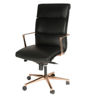 Wilson High Back Office Chair Rose Gold Base, Black