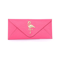 Pink Flamingo Medallion Clutch - Unique Vintage - Prom dresses, retro dresses, retro swimsuits.