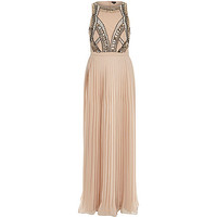 River Island Womens Nude woven sequin embellished maxi dress