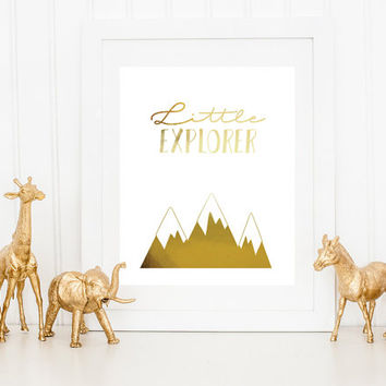 Little Explorer, Mountains Print, Real Gold Foil Print, Nursery Wall Decor, Gold Mountains, Baby Print Poster, Nursery Print,Kids Room Decor