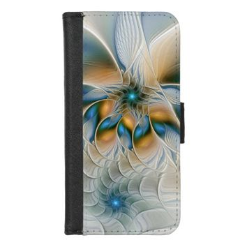Soaring, Abstract Fantasy Fractal Art With Blue iPhone 8/7 Wallet Case