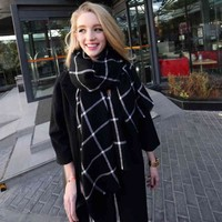 High-grade imitation cashmere scarf Plaid female winter and winter insurance