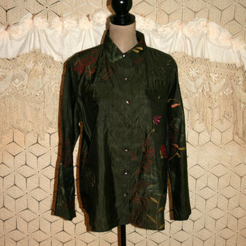 Olive Green Shirt Women Silk Blouse Bohemian Hippie Top Button Up Embroidered Long Sleeve Chicos Size 14 Blouse Large XL Womens Clothing