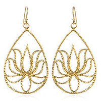 Gold Vermeil Teardrop Lotus Earrings - Satya Jewelry