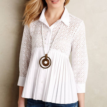 White Cutout Lace Sleeve Button-Up Pleated Blouse