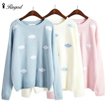 Kawaii Patch Knitted Sweater Women 2016 Winter Autumn Cute Clouds Women Sweaters And Pullovers Female Tricot Jumper Pull Femme
