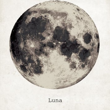 GIANT MOON POSTER - Luna Moon Art Print -  Galaxy Nebula Star Super Moon Print - Wall Art - Home Decor - Moon Poster - Moon Print - Luna