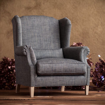 1/4 scale Doll Wingback Chair, Big Linen Chair with Down Cushion, Gray-Brown Upholstery, Wing Armchair for dolls up to 45 cm (18 inches)