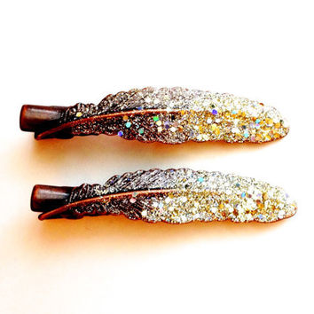Brass Feather Pins Ombre Glitter Gold Feather Hair Clips Copper Set of Two