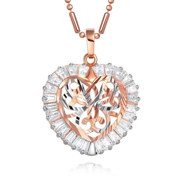 Fancy Beautiful Heart Love Powers Amulet Gold-Silver-Tone Baguette Crystals 18 Inch Necklace