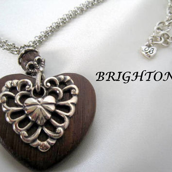 Vintage Brighton Silver Wood Heart Necklace Earrings