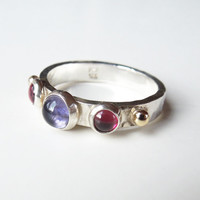 Vintage sterling silver and 14K gold ring with red and purple stones - Size 7.5 - Mothers Day gift - Gift for Mom