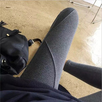NEW Leggings Real 2017 Fall New Womens Thicken Nine Pants Leggings Waist Leather Lable Elastic Cotton Female Women Clothing