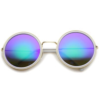 Women's Round Metal Mirrored Lens Sunglasses A039